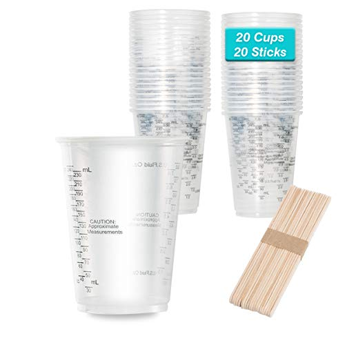 8oz Graduated Clear Plastic Measuring Cups with Wooden Stirring Sticks...