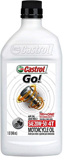 Castrol 06102 GO! 20W-50 4T Motorcycle Oil - 1 Quart Bottle, (Pack of 6)