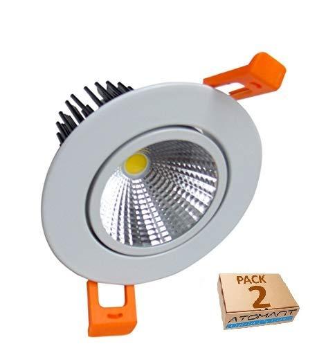 Lot de 2 spots orientables LED 7 W. Blanc neutre (4500K). Coupe 65 mm. Diamètre : 85 mm. 650 lumens. A++