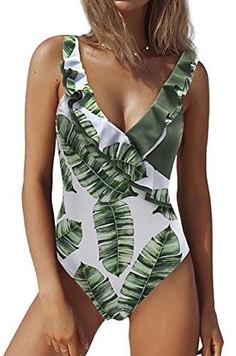 Traje de Baño Mujer de Una Pieza Volante Cuello en V Ropa de Baño Playa Control del Vientre Monokini