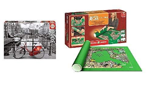 Promohobby Tapete para enrollar Puzzles (hasta 3000 Piezas) + Puzzle Educa 3000 Piezas Amsterdam (Ref. 16018)