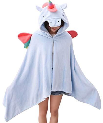 Unicornio Manta con Capucha Mujer Niña Poncho de Peluche Animales Ropa De Dormir Batas Loungewear Costume Halloween Carnaval