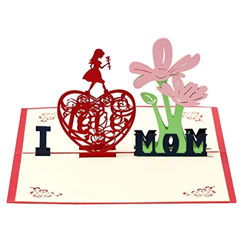 Tarjeta de felicitación de cumpleaños para mamá, día de la madre, tarjeta de agradecimiento 3D para madres, tarjeta de boda, tarjeta de Navidad