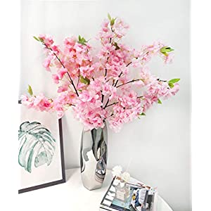3 Pcs Artificial Cherry Blossom Branches Silk Flowers Stems Tall Fake Flower Arrangements for Home Wedding Decoration (Deep Pink)