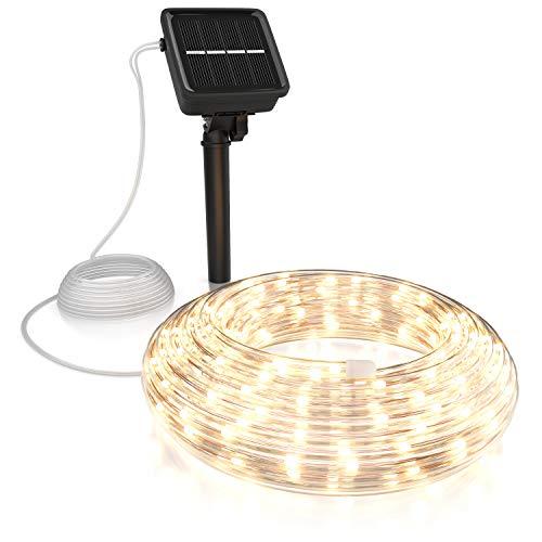 CSL - LED Lichterkette Solar 10 m warmweiß – Innen und Außen - Solarpanel mit Akku 1200mAh - 100 Leds warmweiß – 2 Modi: blinkend und stetig leuchtend – flexibler Kupferleiter – Schutzart IP44