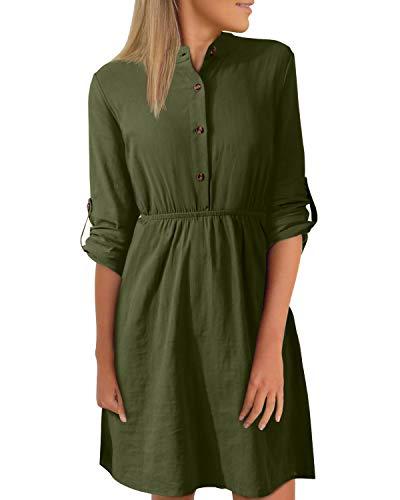 YOINS Abito da donna, autunno, al ginocchio, a maniche lunghe, abito invernale, camicia, abito tunica con scollo a V, elegante con cintura Verde militare. S