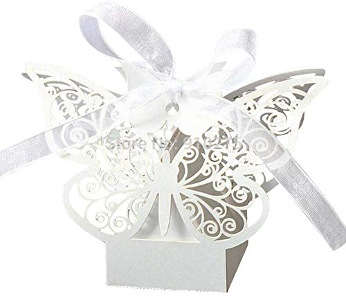 PONATIA 50pcs Farfalla Wedding Baby Cutout Candy Box Favors Gift Box Pearlescent (bianco)