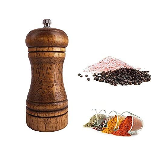 Dream HorseX caída Madera de Roble Molinillo de Pimienta y una Amoladora, núcleo de cerámica de trituración de Madera Sal y Pimienta Amoladora, Ajustable Molinillo de cerámica(5 Pulgadas)…