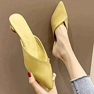 Summer Leather Slippers Slip On 3 CM Low Heel Shoes Women Pumps Slides Sandals Office Shoes,Casual Elegant Shoes (Color : Yellow, Shoe Size : 6)