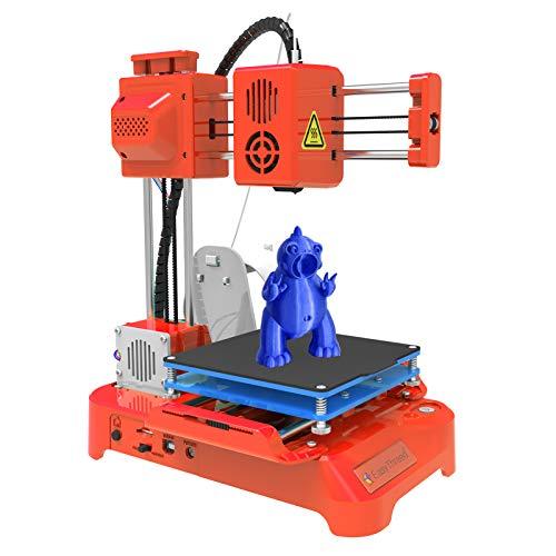 Aibecy Impresora 3D para niños Mini impresora 3D de escritorio 100x100x100mm Tamaño de impresión Sin cama caliente Impresión de una tecla con tarjeta TF Filamento de muestra de PLA