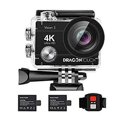 Dragon Touch 4K Action Camera 16MP Vision 3 Underwater Waterproof Camera PC Webcam 170° Wide Angle WiFi Sports Cam with Remote 2 Batteries and Mounting Accessories Kit from Dragon Touch