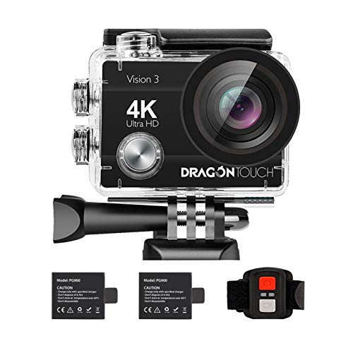 Dragon Touch 4K Action Camera 16MP Vision 3 Underwater Waterproof Camera 170