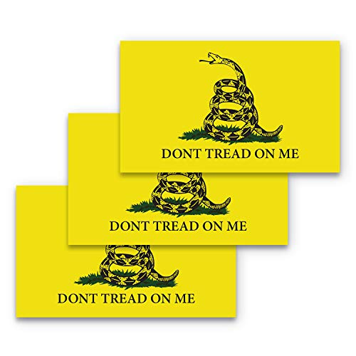 3x5 Dont Tread on Me Sticker 3-Pack Gadsden Flag Bumper Sticker Made with Durable, Waterproof Materials, Don