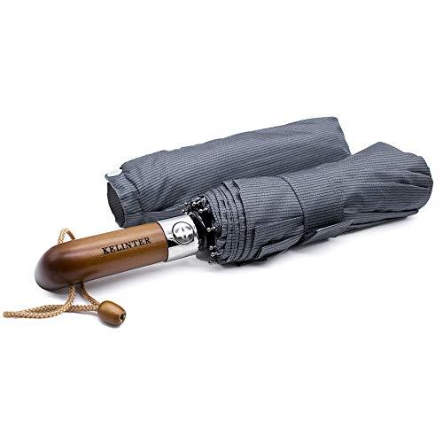 Paraguas Plegable Elegante Resistente al Viento -Automático e Impermeable Botón Único - Mango de Madera Clásico -10 Varillas reforzadas Antioxidantes -para Hombre y Mujeres-Diseñado en Galicia.
