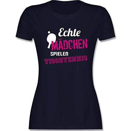 Sonstige Sportarten - Echte Mädchen Spielen Tischtennis - XL - Navy Blau - Tischtennis t-Shirt - L191 - Tailliertes Tshirt für Damen und Frauen T-Shirt