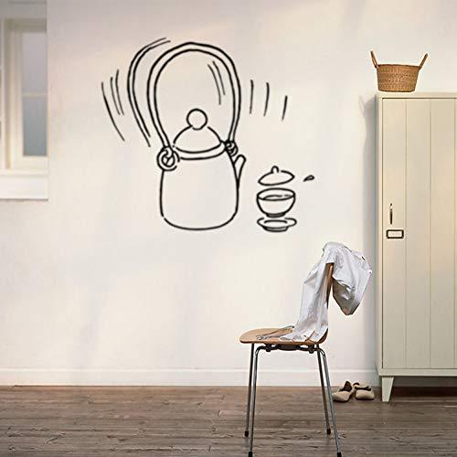 DALAO Muurtattoo theepot, theeschaal, muurstickers, decoratief, twee kleuren, creatief