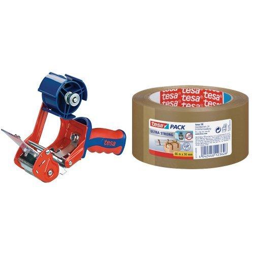 tesa Profi-Packband-Set (Handabroller Comfort und 3 Rollen Paketband tesapack ultra strong, 66 m x 50 mm) braun