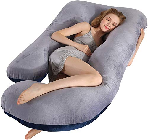 Cuscino per gravidanza da surfilter, cuscino per maternità a forma di U da 57 pollici con rivestimento rimovibile Cuscino completo per cuscino per schiena, fianchi, gambe, ventre (grigio blu