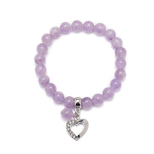 Bivei Lavender Violet Jade Natural Gemstone Beads Semi Precious Stone Love Heart Charm Chakra Bracelet for Women Girls