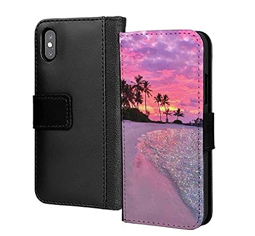 Dazzling Sunset Glitter Beach Sea PU Cuero Wallet in Card Phone Case Cover para Samsung Galaxy S5