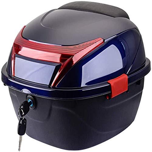 Yshuai Motorradkoffer Gepäck Roller Gepäck Hinten Scooter Scooter Monolock Aufbewahrungstasche hinten für Helm Topcase mit einem bequemen Helm, Navy Blau, 41 x 42 x 28 cm