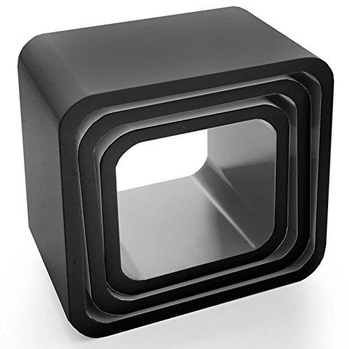 casa pura® Design Wandregal Cambridge | Set aus 3 Würfeln | Hochglanz | freischwebend (versteckte Halterung) | gesundheitsfreundliche Materialien | 4 Farben (schwarz)