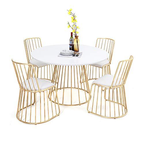 Mesa de Comedor de Hierro Forjado Simple, Restaurante temático Mesa Redonda de Madera Maciza, café de Ocio, Mesa de Comedor Creativo y combinación de Silla con combinación de 5 Piezas