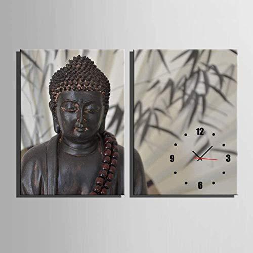 SoulSpaze Reloj de Buda Gigante en Lienzo, 2 Piezas, Reloj de Pared, diseño de Buda Moderno, 1 Marco no tamaño 1