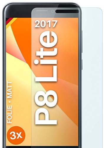 moex Schutzfolie matt kompatibel mit Huawei P8 Lite 2017 - Folie gegen Reflexionen, Anti Reflex Bildschirmschutz, Matte Bildschirmfolie - 3X Stück