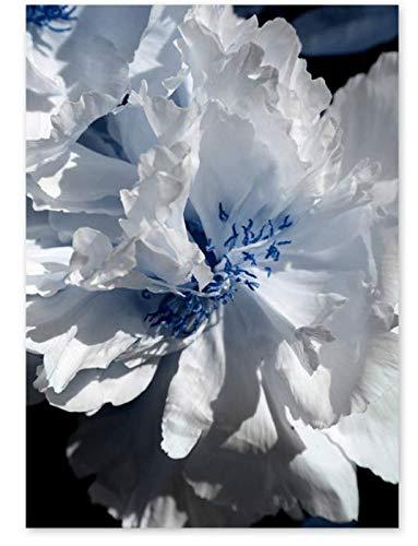H/L Simple White Rose Fern Leaf Plant Poster Oil Painting Landscape Retro Diy Home Living Room Bar Decoration Mural Frameloos 50X60Cm M3114