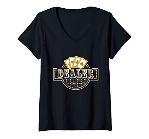 Mujer Casino Dealer - Poker Gambling Card Playing Day Players Gift Camiseta Cuello V