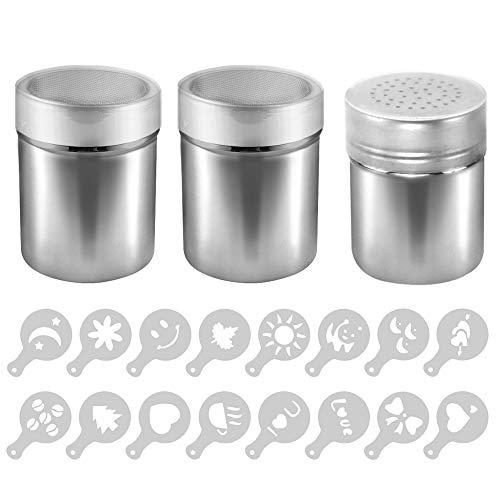 AIFUDA 3 Stück Edelstahl-Pulverstreuer mit 16 Stück Druckformen Schablonen, Pulverdosen mit Netz für Kaffee, Cappuccino, Latte, Dredge Shaker mit Loch für Küche, Restaurants