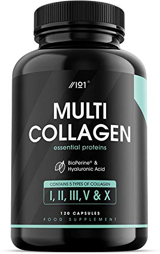 Collagen Complex Capsules - 5 Type Food Sourced Collagen - Hydrolysed Grass Fed Bovine, Wild Caught Marine & Free-Range Chicken, Hyaluronic Acid & BioPerine, 120 Count (1 Pack)
