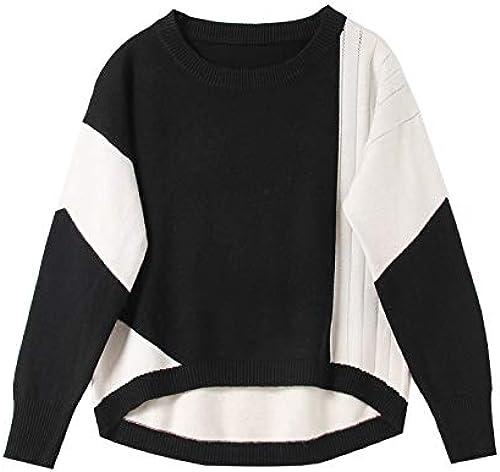 JIAKENVDE Round Neck Pull-on Contrast Hem Asymmetric Long-Sleeved Loose chandail chandail femmes