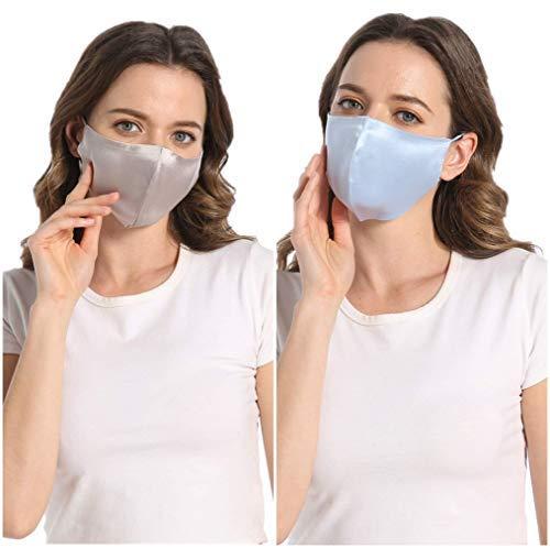 100% Mulberry Silk Face Mask for Women Men Hypoallergenic-Light Grey&Blue