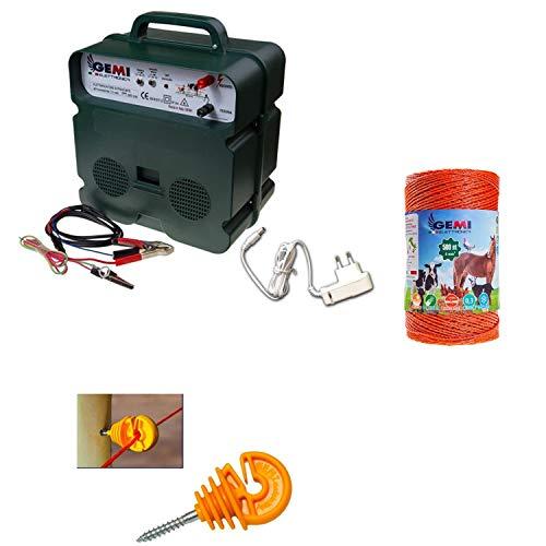 Recinto elettrico Kit con 1 Elettrificatore a doppia alimentazione 12V / 220V + 1 Filo 500 MT 4 Mm² + 100 pezzi isolatori per paletti in legno - Recinzione Elettrica per cavalli mucche cinghiali