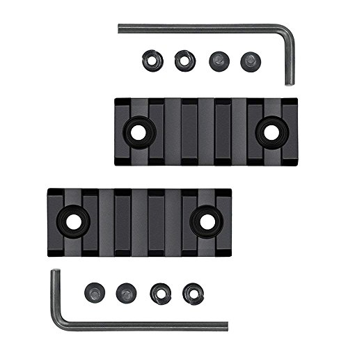Airsson 2-Stück 5 Slots Picanntyschiene Weaverschiene Keymod Rails mit Befestungsschrauben Beigefügten Gewehr Vorderschaft Zweibein Red-Dots Visier Taschenlampe für Airsoft Jagd
