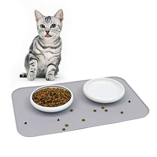 ComSaf Keramik Katzennapf Weiß 2er-Set, Futternäpfe für Katzen mit Silikonunterlage, Tierschüssel mit Silikonmatte, Abwaschbar und rutschfest