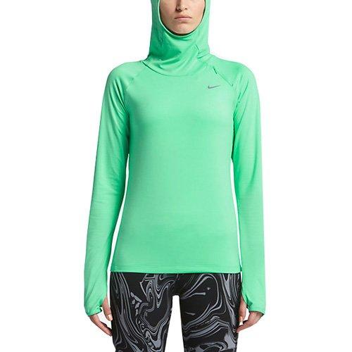 NIKE Element Sudadera de Entrenamiento con Capucha, Mujer, Verde Resplandor/Plata Metalizado, M