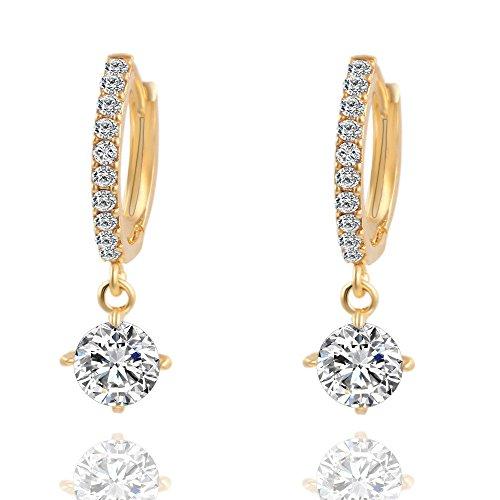 LQJstore Huggie Hoop Earrings,Crystal Rhinestone Ear Stud Earrings Cuff Earrings Huggie Dangle Stud (Gold)