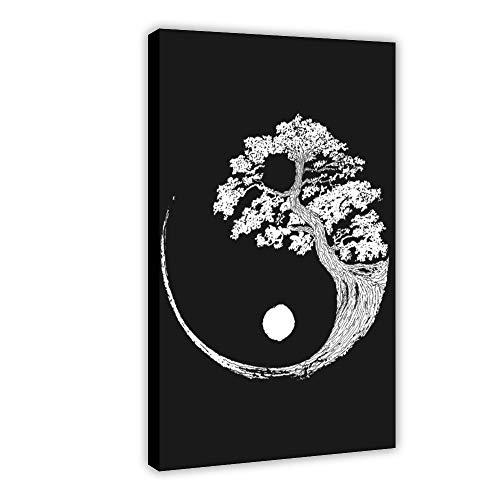 Cuadro original de colchicum botánico Yin Yang Bonsái, árbol japonés, póster artístico vintage, lienzo para decoración de dormitorio, paisaje, oficina, decoración de habitación, regalo de 60 x 90 cm