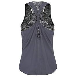 FAFAIR Workout Tank Top With Built in Bra Loose Racerback Yoga Sport Vest Running Tops Women