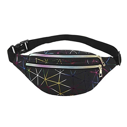 RROVE Bolsas de Cintura holográficas Mujeres Riñonera Bolsa de cinturón Femenino Paquetes geométricos Patchwork Chest Phone Pouch