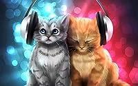 新しいパズル1000ピース大人のパズル木製ジグソーパズル-音楽を聴く猫-子供アートDiyレジャーゲーム楽しいおもちゃギフト適切な家族フリーン