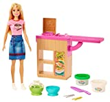Barbie Noodle Bar Playset with Blonde Doll, Workstation, 2 White and Green Dough Containers, 2 Bowls, Play Knife and 2 Pairs of Chopsticks for Ages 4 and Up