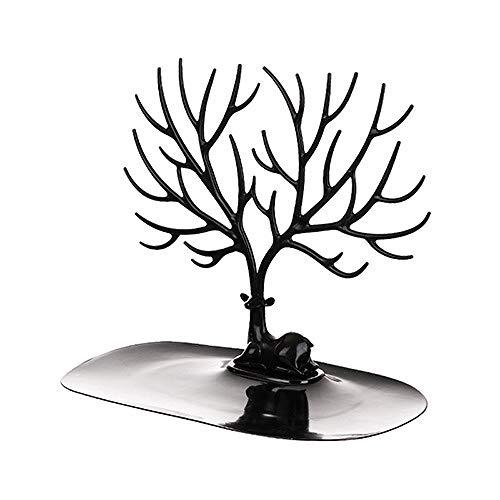 FKDG Estante De Exhibición Creativo De La Joyería del Árbol De Los Ciervos Pendientes Collares Estante De Almacenamiento De La Joyería Decoración Interior,Black