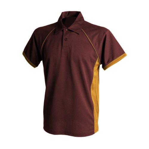 Finden & Hales - Polo Sport à Manches Courtes - Homme (M) (Bordeaux/Orange/Orange)
