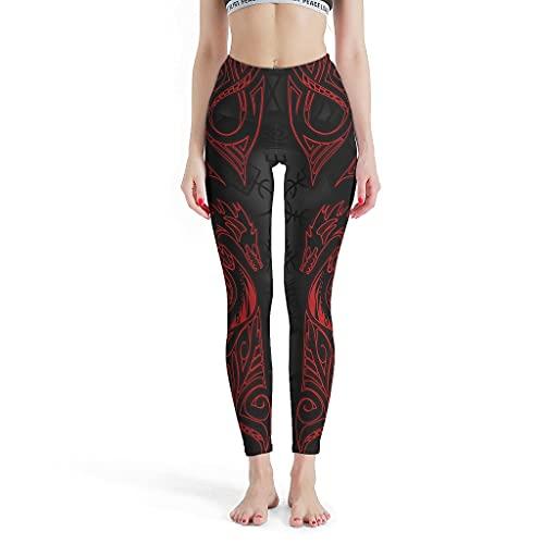 Vartanno Damen-Leggings im Wikinger-Stil, Pilates-Hose, Yogahose für Fitnessstudio, Weiß, Größe XXL