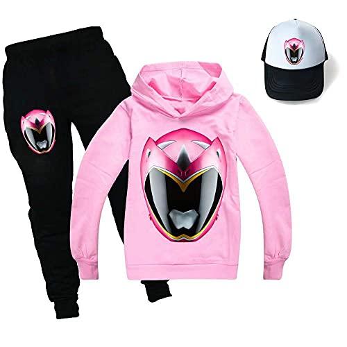 Tpiont Power Ranger - Sudadera con capucha unisex para niños, con capucha, pantalones y sombreros, para niños y niñas
