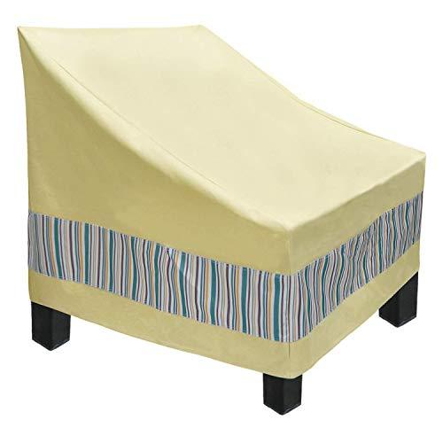 GYHH Copertura del Mobile,Copridivano per Sedie da Esterno per Sedie da Giardino Impermeabili E Resistenti, Sedie da Esterno in Tessuto Oxford 600D (Beige+Stripes,102x102x92cm)